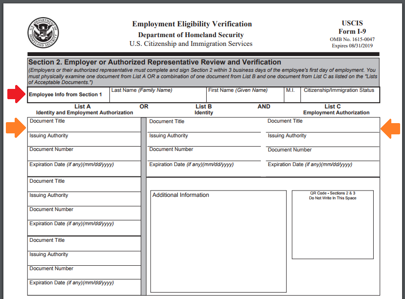 Section 2 of Form I-9